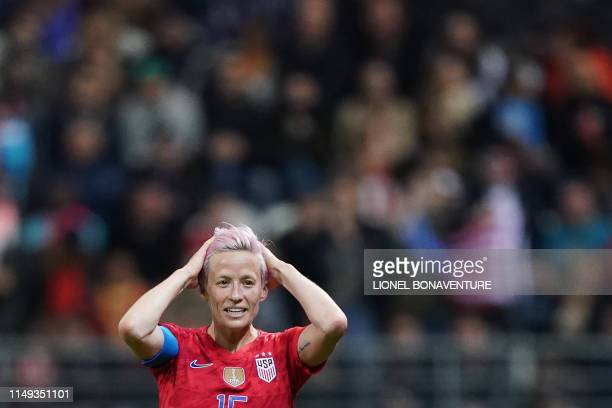 United States' forward Megan Rapinoe reacts during the France 2019 Women's World Cup Group F football match between USA and Thailand on June 11 at...