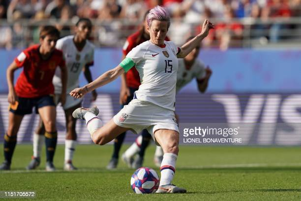 United States' forward Megan Rapinoe scores a goal during the France 2019 Women's World Cup round of sixteen football match between Spain and USA, on...