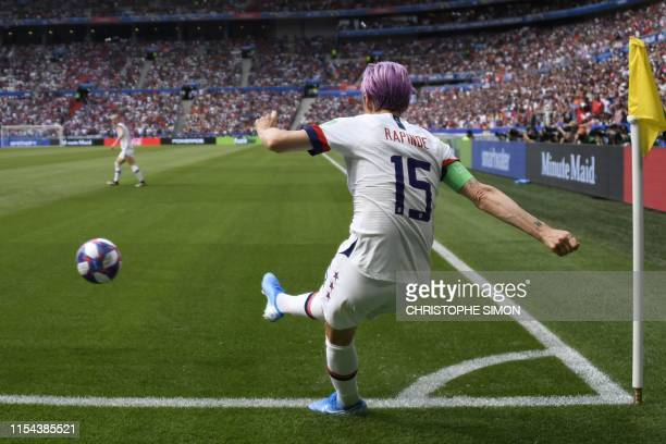 TOPSHOT United States' forward Megan Rapinoe takes a corner during the France 2019 Womens World Cup football final match between USA and the...