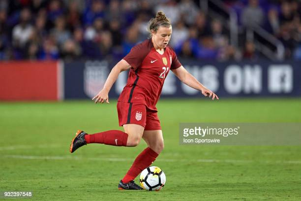 United States forward Savannah McCaskill dribbles the ball during the SheBelieves Cup match between USA and England on March 07 at Orlando City...