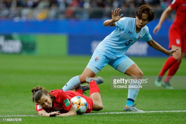 United States' forward Tobin Heath vies for the ball with Thailand's defender Ainon Phancha during the France 2019 Women's World Cup Group F football...