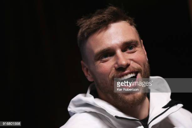 United States Freestyle skier Gus Kenworthy answers questions at a press conference at the Main Press Centre during the PyeongChang 2018 Winter...