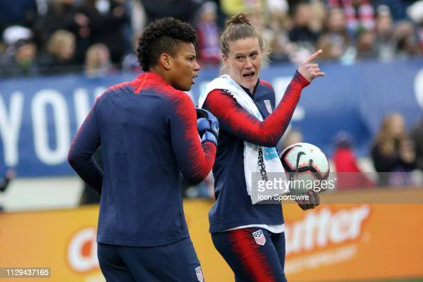 United States goalkeeper Adrianna Franch and United States goalkeeper Alyssa Naeher during warm ups for the SheBelieves Cup match between the United...