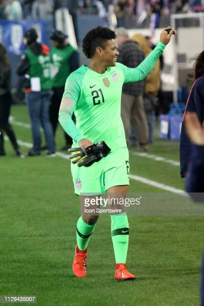 United States goalkeeper Adrianna Franch waves to the crowd after the SheBelieves Cup match between the United States and England at Nissan Stadium...