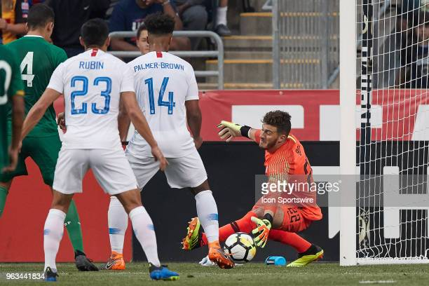 United States goalkeeper Alex Bono dives to stop a shot during the international friendly match between the United States and Bolivia at the Talen...