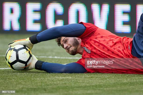 United States goalkeeper Alex Bono warms up prior to the international friendly match between the United States and Bolivia at the Talen Energy...