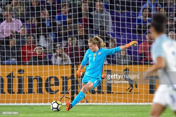 United States goalkeeper Alyssa Naeher kicks the ball during the SheBelieves Cup match between USA and England on March 07 at Orlando City Stadium in...