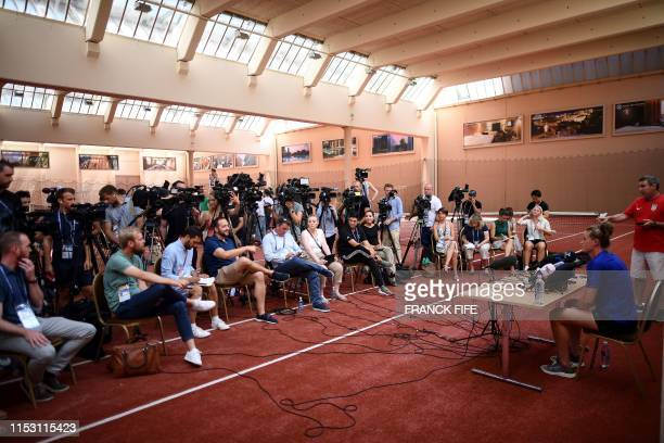 United States' goalkeeper Alyssa Naeher speaks during a press conference in Lyon on July 1 during the France 2019 Women's Football World Cup USA will...