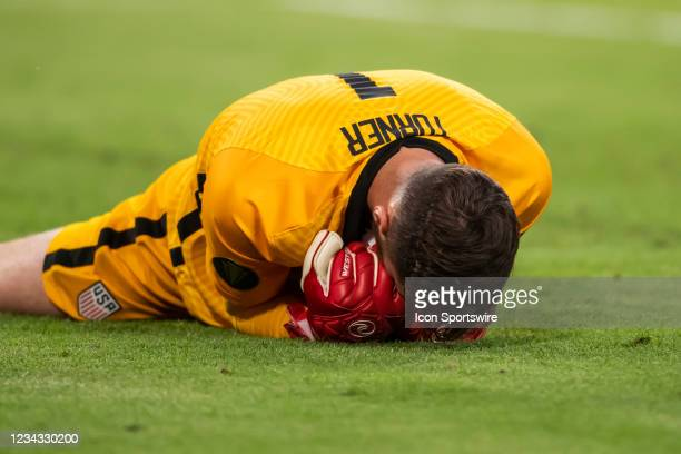 United States goalkeeper Matt Turner smothers the ball to close out the match during the Gold Cup semifinal match between the United States and Qatar...