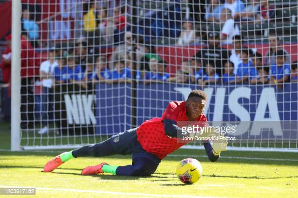 United States Goalkeeper Sean Johnson during warmups during a game between Costa Rica and United States at Dignity Health Sports Park on February 1...