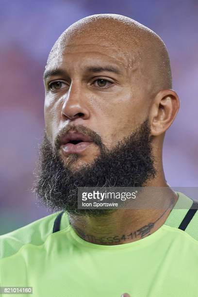 United States goalkeeper Tim Howard looks on during a CONCACAF Gold Cup Quarterfinal match between the United States v El Salvador at Lincoln...