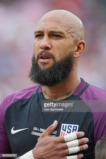 United States goalkeeper Tim Howard looks on during the FIFA 2018 World Cup Qualifier match between the United States and Trinidad Tobago on June 08...