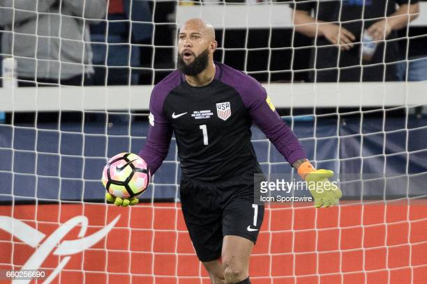United States goalkeeper Tim Howard reacts after making a save during their FIFA 2018 World Cup Qualifier between USA and Honduras at Avaya Stadium...