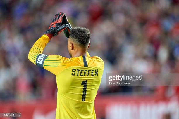 United States goalkeeper Zach Steffen celebrates a goal scored by United States midfielder Djordje Mihailovic in game action during an international...