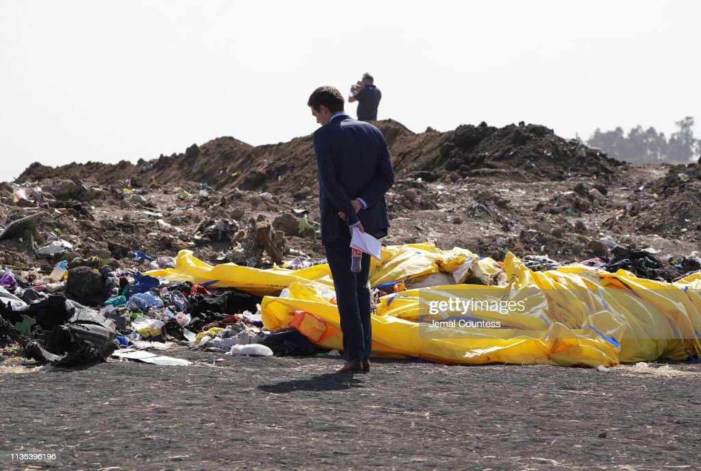Emergency Services Work At The Crash Site Near Bishoftu Of Ethiopian Airlines ET302 To Nairobi : News Photo
