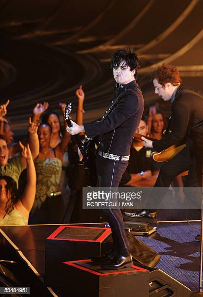 Guitarist and lead singer of US band Green Day Billie Joe Armstrong performs at the MTV music video awards in Miami 28 August 2005 Green Day won the...