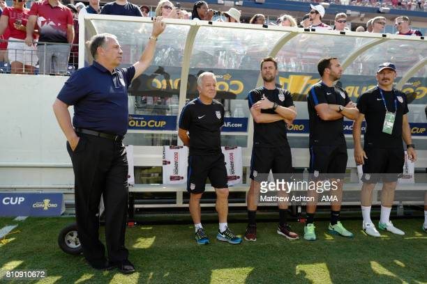 United States Head Coach / Manager Bruce Arena looks on during the 2017 CONCACAF Gold Cup Group B match between the United States and Panama at...