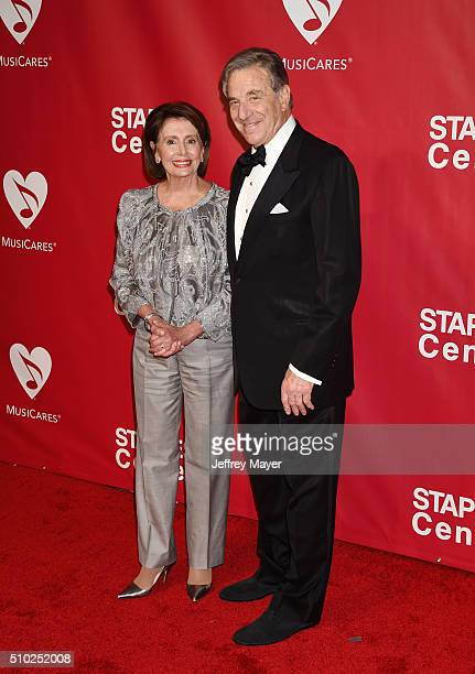 United States House of Representatives Minority Leader Nancy Pelosi and husband Paul Pelosi attend the 2016 MusiCares Person of the Year honoring...