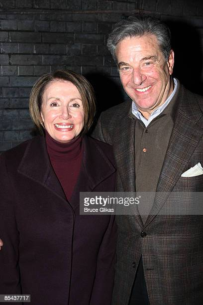 United States House of Representatives Speaker Nancy Pelosi and husband Paul Pelosi visit backstage at Billy ElliotThe Musical on Broadway at The...