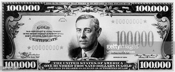 United States hundred thousand dollar bill, Washington DC, mid 1930s. It is a gold certificate with Woodrow Wilson on the bill.
