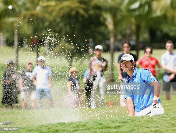 DORAL United States Japan's Hideki Matsuyama makes a bunker shot on the No 4 hole during his final round of the WGC Cadillac Championship tournament...