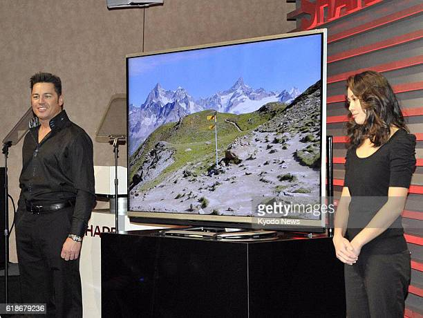 LAS VEGAS United States Japan's Sharp Corp displays its new Aquos brand 70inch liquid crystal display TV with '4K' technology which displays images...
