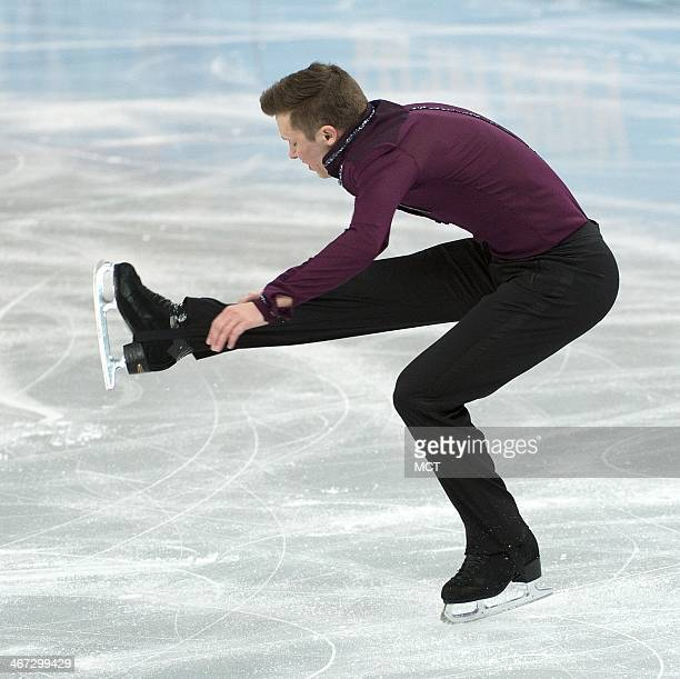 United States Jeremy Abbott performs during the team men figure skating short program at the Iceberg Skating Palace at the Winter Olympics in Sochi...