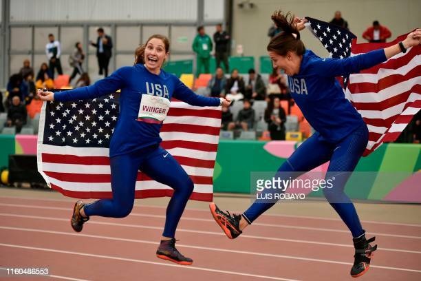 United States' Kara Winger and United States' Ariana Ince celebrate after winning the gold and bronze medals respectively, in the Athletics Women's...