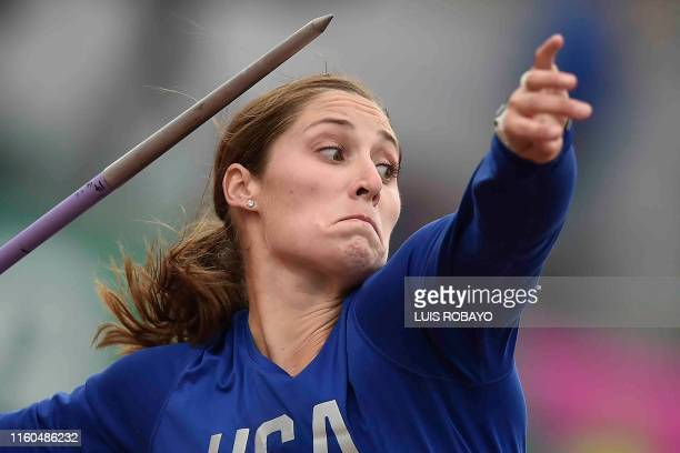 United States' Kara Winger competes in the Athletics Women's Javelin Throw Final during the Lima 2019 Pan-American Games in Lima on August 9, 2019.