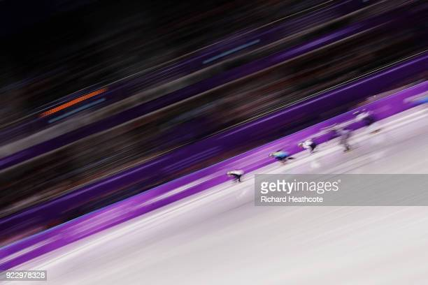 United States Kazakhstan and Japan compete during the Short Track Speed Skating Men's 5000m Relay Final B on day thirteen of the PyeongChang 2018...