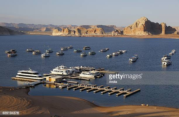 Lake Powell near Page in both the state of Arizona and the state of Utah in Glen Canyon Park This artificial lake was created on the Colorado River...