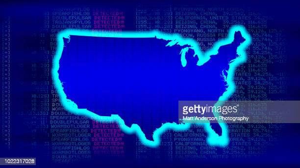 united states map with malicious code - electoral college stock pictures, royalty-free photos & images