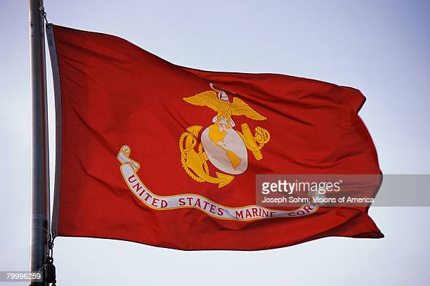 united states marine corp flag - marine corps flag stock pictures, royalty-free photos & images