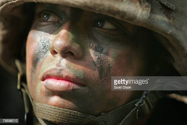 United States Marine Corps recruit Maria Martinez of Santa Anna California trains during boot camp March 8 2007 at Parris Island South Carolina The...