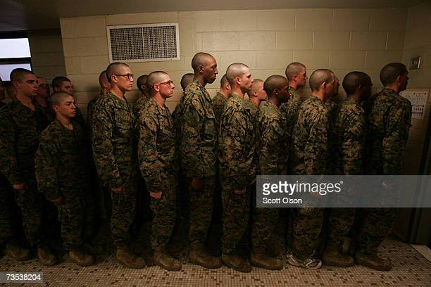 United States Marine Corps recruits line up before leaving the head after making a head call during boot camp March 7 2007 at Parris Island South...