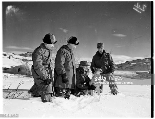 United States Marines in cold weather training camp at Pickel Meadows men from Camp Pendleton go through maneuvers 09 January 1952 Private First...