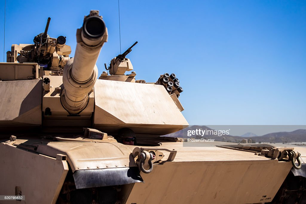 United States Marines military tank with soldiers on board : Stock Photo