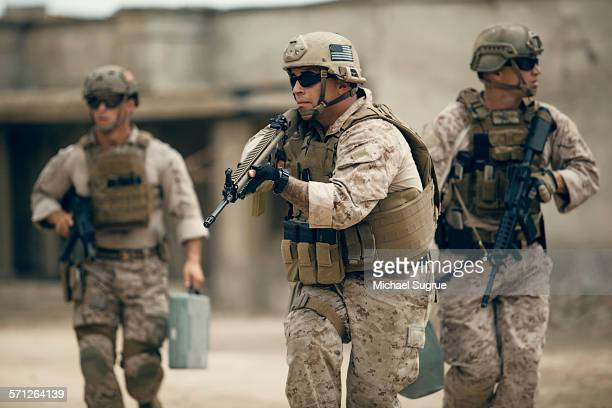 united states marines on patrol. - war stock pictures, royalty-free photos & images