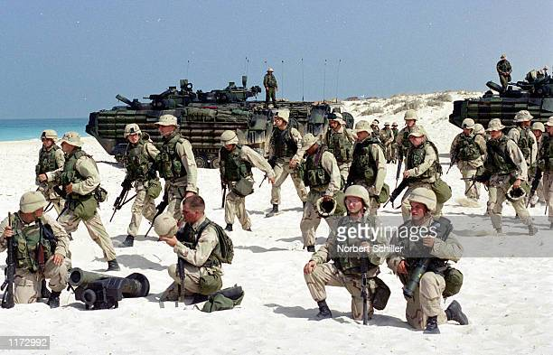 United States Marines participate in Operation Bright Star exercises October 23 2001 on Egypt's north coast This year's exercises are the eleventh in...