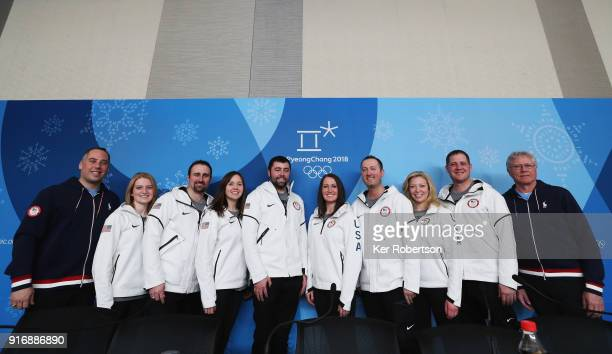 United States Men's Curling coach Phill Drobnick and players Corey Christensen Joe Polo Aileen Geving John Landsteiner Tabitha Peterson Tyler George...