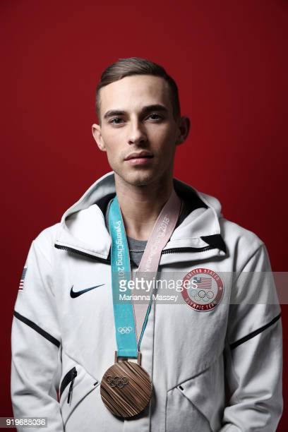 United States Men's Figure Skater Adam Rippon poses for a portrait with his Bronze medal for the team event on the Today Show Set on February 17 2018...