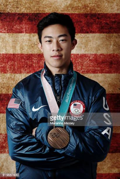 United States Men's Figure Skater Nathan Chen poses for a portrait with his bronze medal in the team event on the Today Show Set on February 17, 2018...