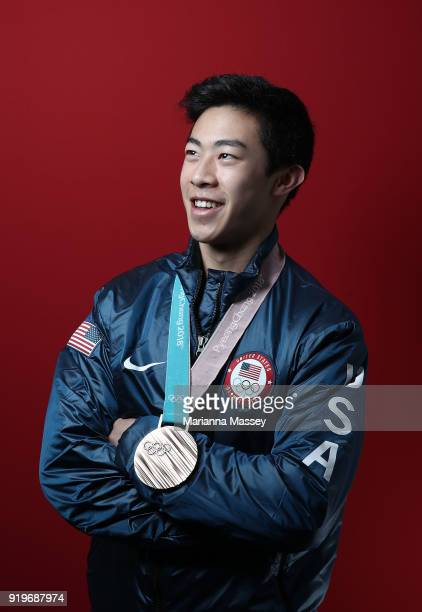 United States Men's Figure Skater Nathan Chen poses for a portrait with his bronze medal in the team event on the Today Show Set on February 17 2018...