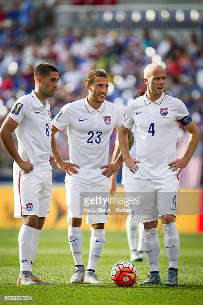 United States Men's National Captain Michael Bradley with his teammates Clint Dempsey and Fabian Johnson during the Soccer, 2015 CONCAAF Gold Cup...