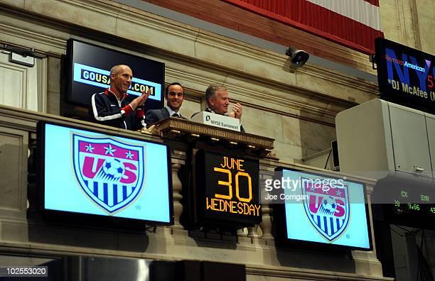 United States men's national soccer team head coach Bob Bradley American soccer player Landon Donovan and Duncan L Niederauer Chief Executive Officer...