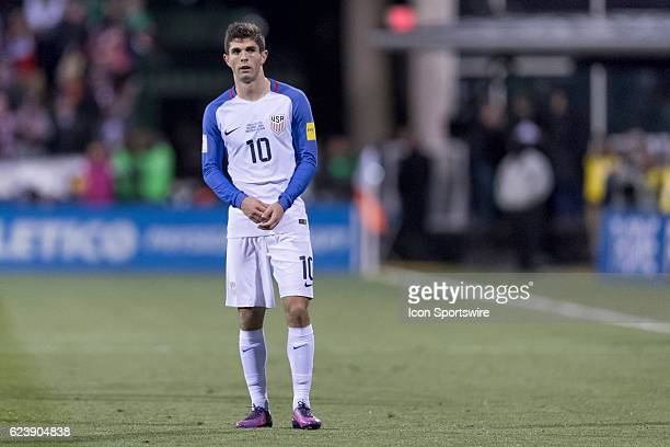 United States Men's National Team player Christian Pulisic looks on in the first half during the FIFA 2018 World Cup Qualifier at MAPFRE Stadium on...