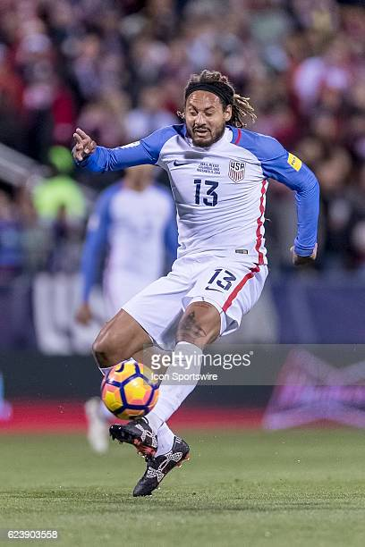 United States Men's National Team player Jermaine Jones kicks the ball in the first half during the FIFA 2018 World Cup Qualifier at MAPFRE Stadium...