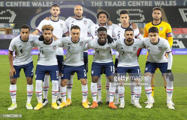 United States men's national team starting eleven before a game between Wales and USMNT at Liberty Stadium on November 12, 2020 in Swansea, Wales.
