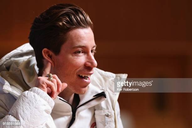 United States men's snowboarder Shaun White attends a press conference at the Main Press Centre during previews ahead of the PyeongChang 2018 Winter...