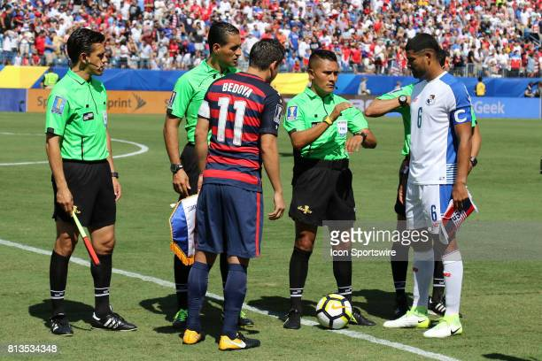 United States midfielder Alejandro Bedoya and Panama midfielder Gabriel Gomez at the coin toss forthe group stage match of the CONCACAF Gold Cup...